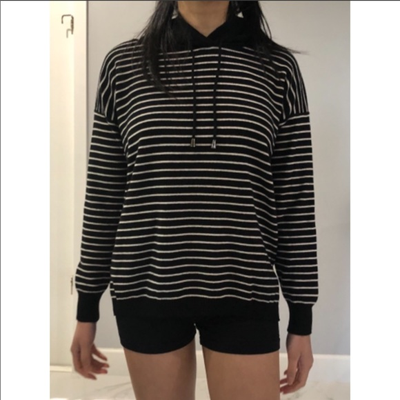Black and White Striped Hoodie Size: S